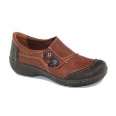 Zapato elásticos combinado marrón de Laura Azaña.
